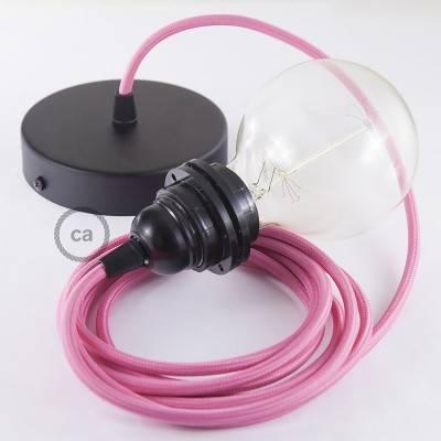 Pendel für Lampenschirm, Hängelampe Fuchsia Seideneffekt RM08