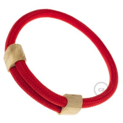 Textilarmband Farbe: Rot Seideneffekt RM09 Verschluss: verstellbar