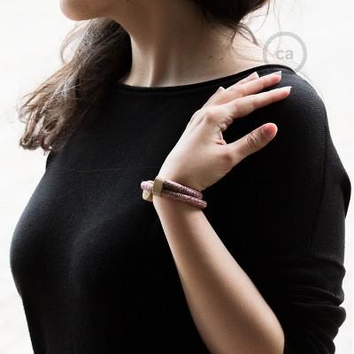 Armband aus Baumwolle und natürlichen Leinen Farbe: Rot geglittert RS83 Verschluss: verstellbar