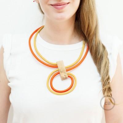 Kabel Collier Halskette Infinity, zweifarbig in Senf RM25 und Orange RM15