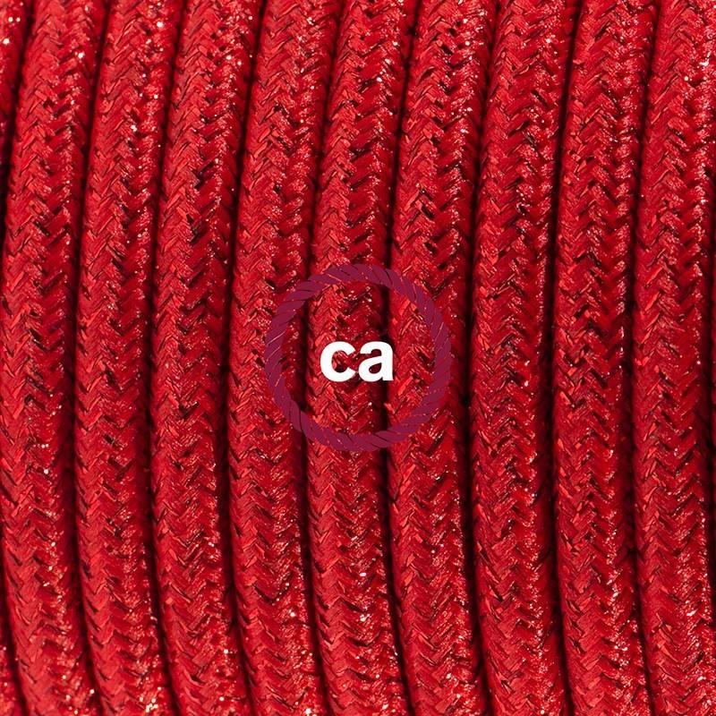 Zuleitung für Tischleuchten RL09 Rot Glitter Seideneffekt 1,80 m. Wählen Sie aus drei Farben bei Schalter und Stecke.