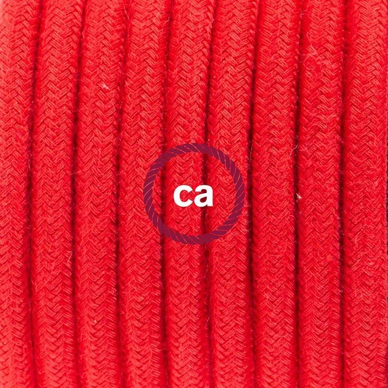 Zuleitung für Tischleuchten RC35 Feuerrot Baumwolle 1,80 m. Wählen Sie aus drei Farben bei Schalter und Stecke.