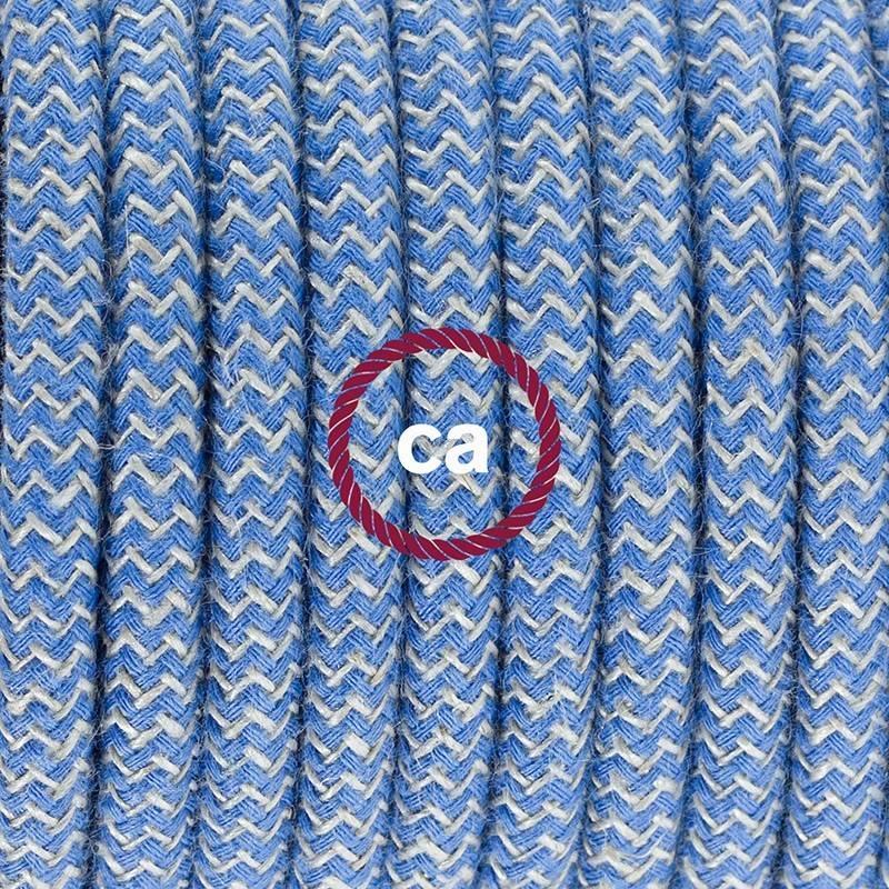 Zuleitung für Tischleuchten RD75 Zick-Zack Blau 1,80 m. Wählen Sie aus drei Farben bei Schalter und Stecke.