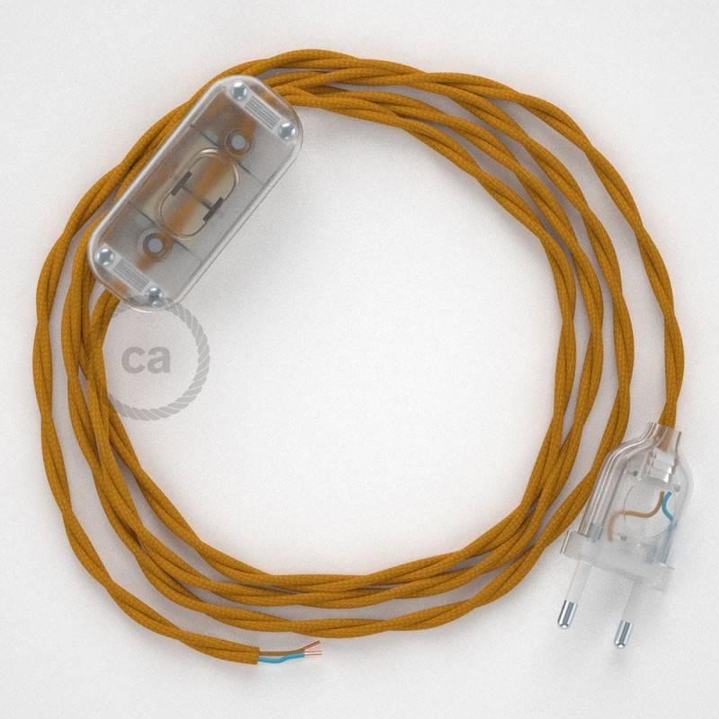 Zuleitung für Tischleuchten TM25 Senfgelb Seideneffekt 1,80 m. Wählen Sie aus drei Farben bei Schalter und Stecke.