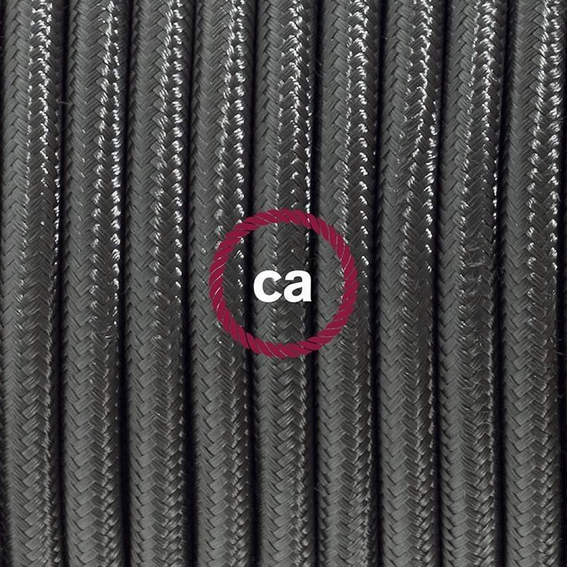 Zuleitung für Tischleuchten RM26 Dunkelgrau Seideneffekt 1,80 m. Wählen Sie aus drei Farben bei Schalter und Stecke.