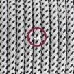 Zuleitung für Tischleuchten RT14 Weiß-Schwarz Seideneffekt 1,80 m. Wählen Sie aus drei Farben bei Schalter und Stecke.