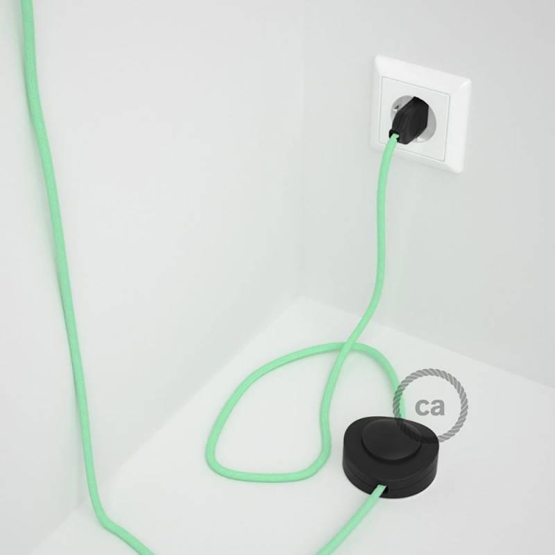 Stehleuchte Anschlussleitung RC34 Minze Baumwolle 3 m. Wählen Sie aus drei Farben bei Schalter und Stecke.