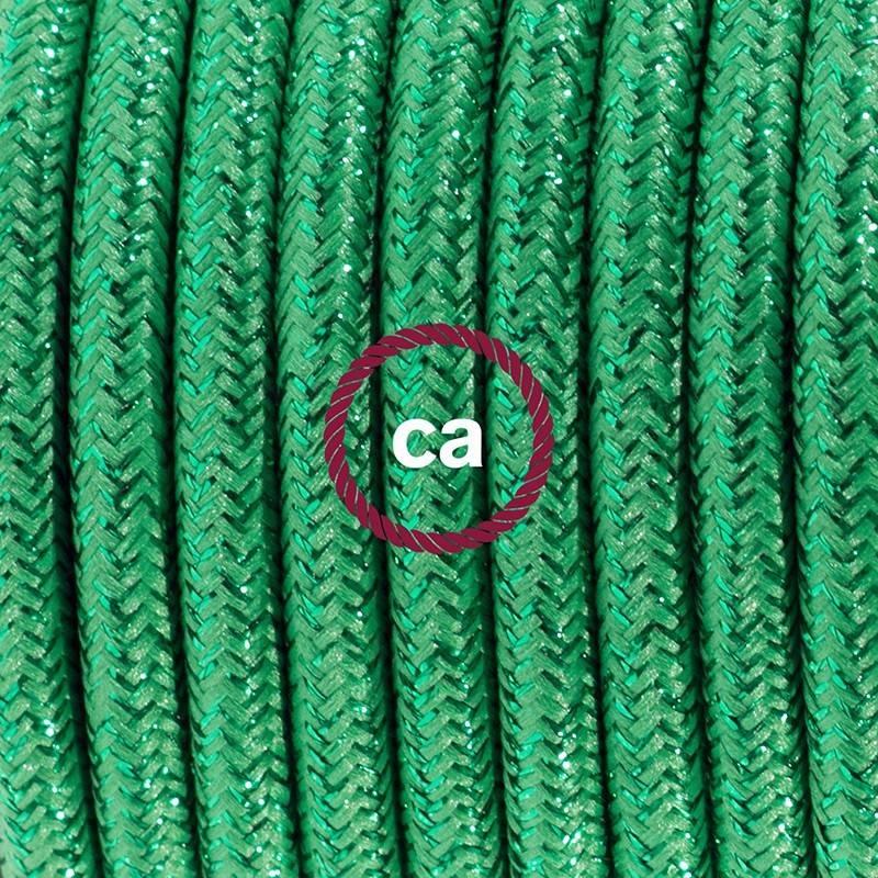 Stehleuchte Anschlussleitung RL06 Grün Geglittert Seideneffekt 3 m. Wählen Sie aus drei Farben bei Schalter und Stecke.