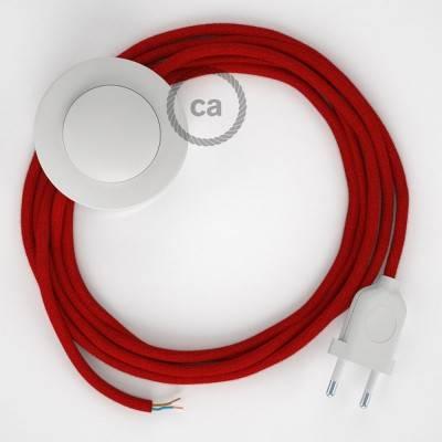 Stehleuchte Anschlussleitung RC35 Feuerrot Baumwolle 3 m. Wählen Sie aus drei Farben bei Schalter und Stecke.