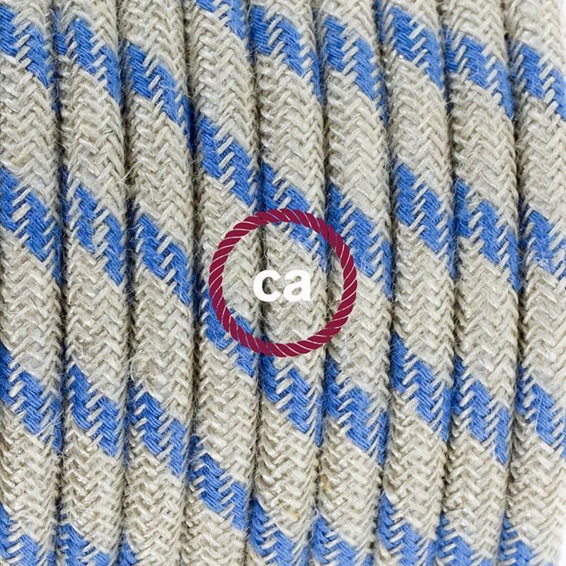 Stehleuchte Anschlussleitung RD55 Streifen Blau 3 m. Wählen Sie aus drei Farben bei Schalter und Stecke.