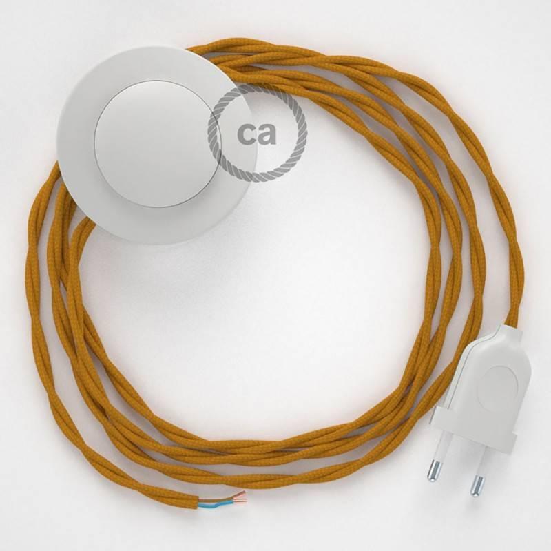 Stehleuchte Anschlussleitung TM25 Senfgelb Seideneffekt 3 m. Wählen Sie aus drei Farben bei Schalter und Stecke.