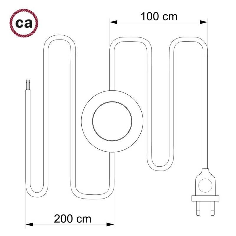 Stehleuchte Anschlussleitung TM26 Dunkelgrau Seideneffekt 3 m. Wählen Sie aus drei Farben bei Schalter und Stecke.