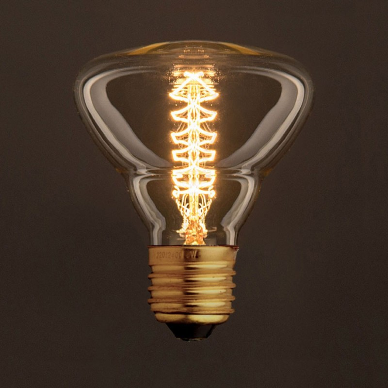 Vintage Glühbirne gold BR95 Filament doppelte Spirale Kohlefaden 25W E27 dimmbar 2000K