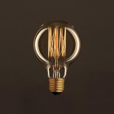 Vintage Glühbirne gold Globo G80 vertikaler Kohlefaden 25W E27 dimmbar 2000K