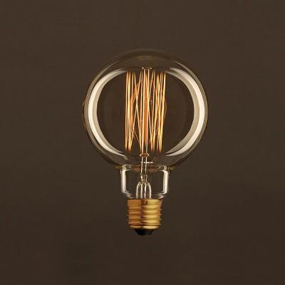 Vintage Glühbirne gold Globo G95 vertikaler Kohlefaden 25W E27 dimmbar 2000K