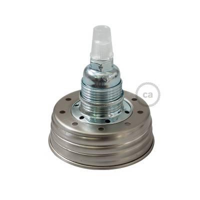Kit Beleuchtung Einmachglas in metall verzinkt, mit konischer Zugentlastung und E14 Lampenfassung in metall chrom