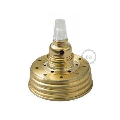 Kit Beleuchtung Einmachglas in metall gold, mit konischer Zugentlastung und E14 Lampenfassung in metall messing