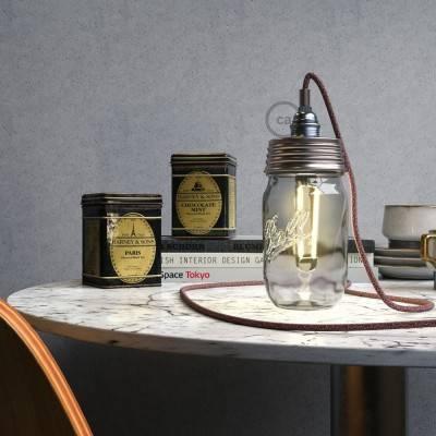 Kit Beleuchtung Einmachglas in metall verzinkt, mit zylindrischer Zugentlastung und E14 Lampenfassung metall chrom