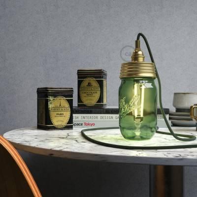 Kit Beleuchtung Einmachglas in metall gold, mit zylindrischer Zugentlastung und E14 Lampenfassung metall messing