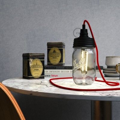 Kit Beleuchtung Einmachglas in metall schwarz, mit zylindrischer Zugentlastung und E14 Lampenfassung bakelit schwarz