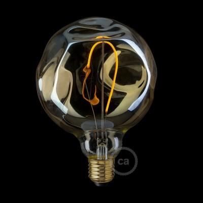 LED-Glühbirne gold- Globo G125 mit unebenmäßiger Oberfläche, Einzelfilament 2.5W E27 Deko Vintage 2000K