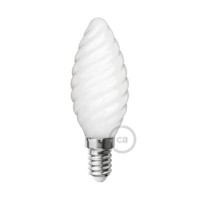 Spiralförmige LED-Glühbirne Milchglas C35 4W E14 dimmbar 2700K