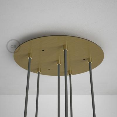 6-Loch XXL Baldachin, Durchmesser 35 cm, Messing matt, mit Befestigungszubehör