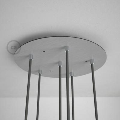 6-Loch XXL Baldachin, Durchmesser 35 cm, Silber matt, mit Befestigungszubehör