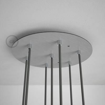 7-Loch XXL Baldachin rund, Durchmesser 35 cm, Silber matt, mit Befestigungszubehör