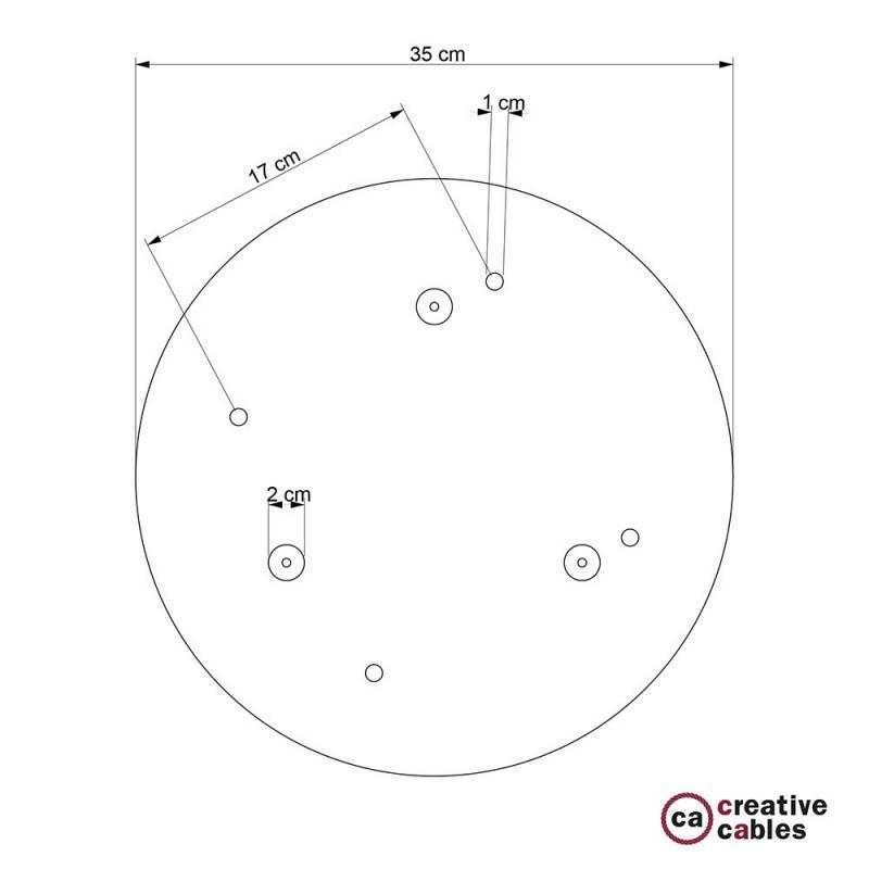 4-Loch XXL Baldachin rund, Durchmesser 35 cm, Kupfer matt, mit Befestigungszubehör