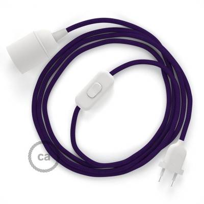 SnakeBis Leuchten-Zuleitung mit Textilkabel Violet Seideneffekt RM14