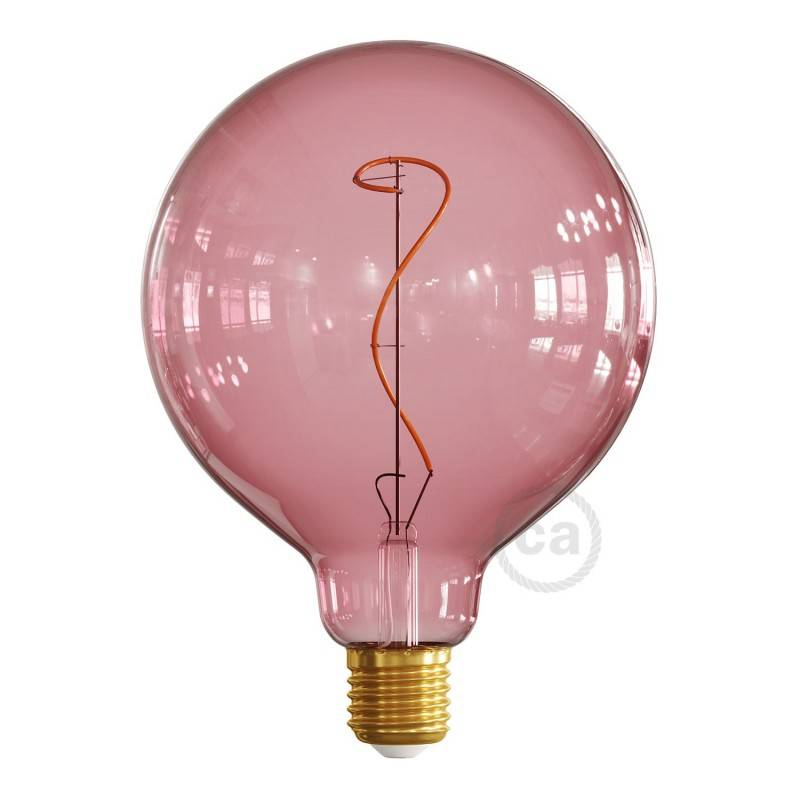 LED-Glühbirne G125 beerenrot (Berry Red) geschwungenes Filament 4W E27 dimmbar 2200K