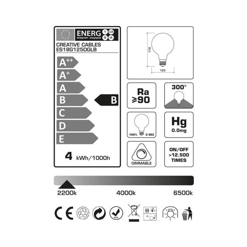 LED-Glühbirne G125 Abenddämmerung (Dusk) geschwungenes Filament 4W E27 dimmbar 2200K