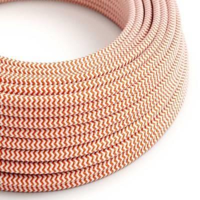Textilkabel rund, Zick-Zack Muster, orange mit Seideneffekt, RZ15