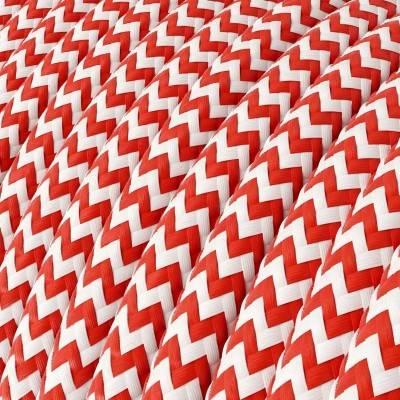 Textilkabel rund, Zick-Zack Muster, rot mit Seideneffekt, RZ09