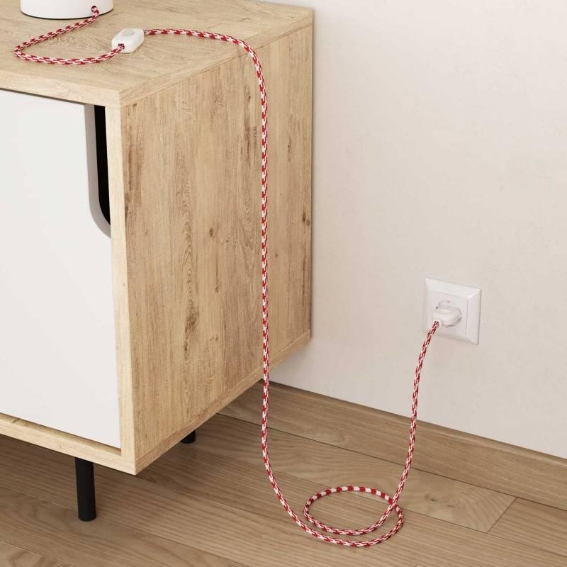 Textilkabel rund, Zick-Zack Muster, bifarbig rot mit Seideneffekt, RP09