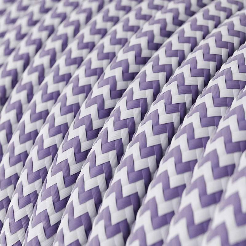 Textilkabel rund, Zick-Zack Muster, lila mit Seideneffekt, RZ07