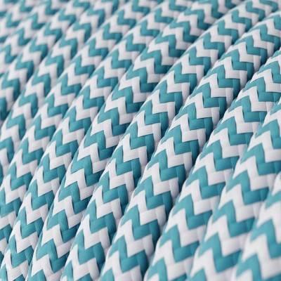 Textilkabel rund, Zick-Zack Muster, türkis mit Seideneffekt, RZ11
