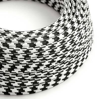 Textilkabel rund, bifarbig schwarz mit Seideneffekt, RP04