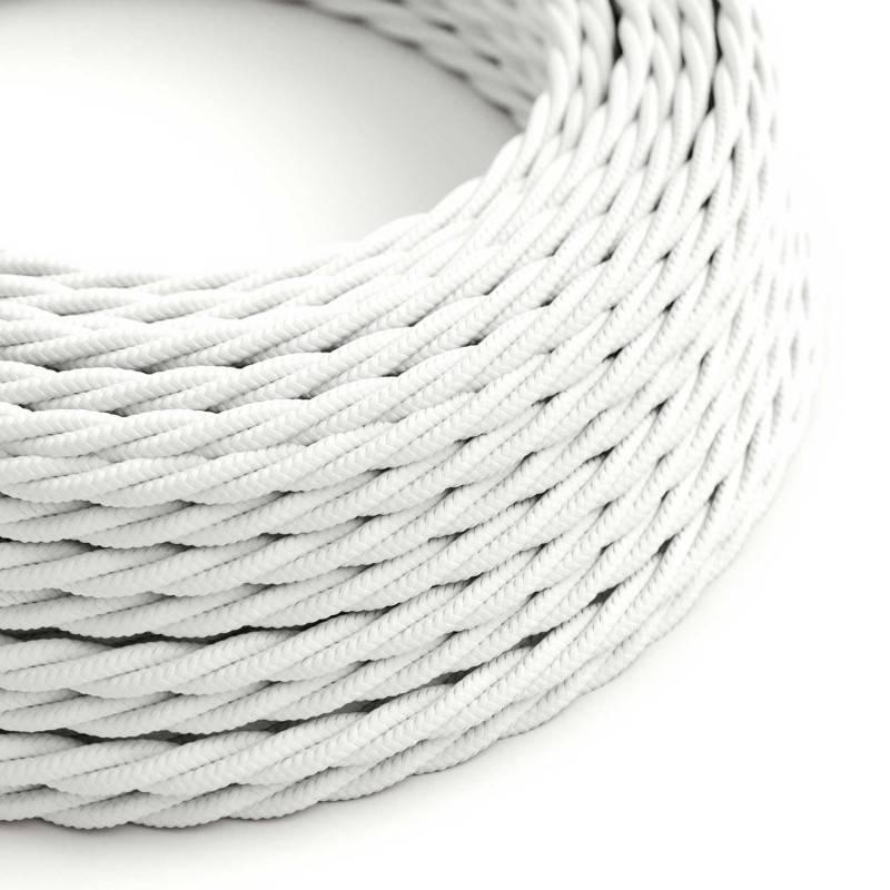 Textilkabel geflochten, weiß mit Seideneffekt, TM01