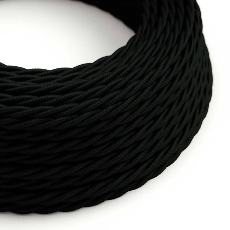 Textilkabel geflochten, schwarz mit Seideneffekt, TM04