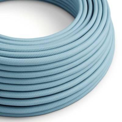 Textilkabel rund, baby blau mit Seideneffekt, RM17