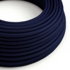 Textilkabel rund, dunkelblau mit Seideneffekt, RM20