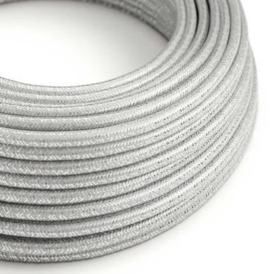 Textilkabel geflochten, silber glitzer Seideneffekt, RL02