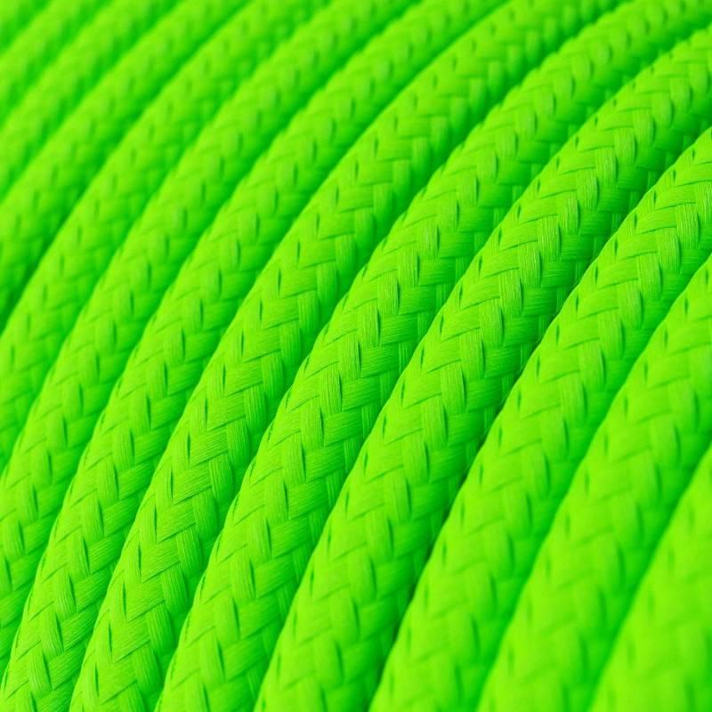 Textilkabel rund, grün fluo mit Seideneffekt, RF06