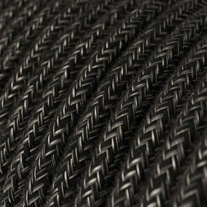 Textilkabel rund, anthrazit natürliche leine, RN03