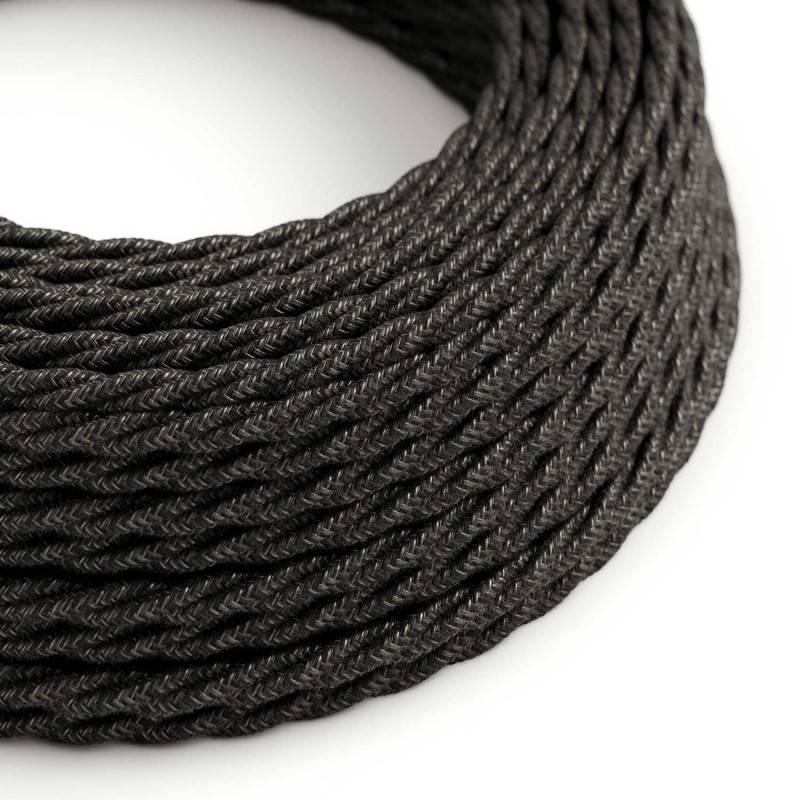 Textilkabel geflochten, anthrazit natürliche Leine, TN03