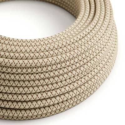Textilkabel rund, Raute, rindenfarben natürliche Baumwoll Leine, RD63