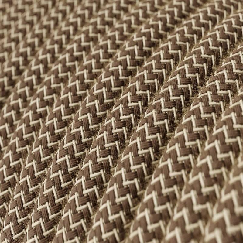 Textilkabel rund, Zick-Zack Muster, rindenfarben natürliche Baumwoll Leine, RD73