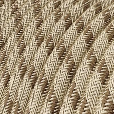 Textilkabel rund, Streifen, rindenfarben natürliche Baumwoll Leine, RD53